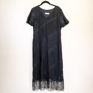 Harlow lace fringe v neck dress